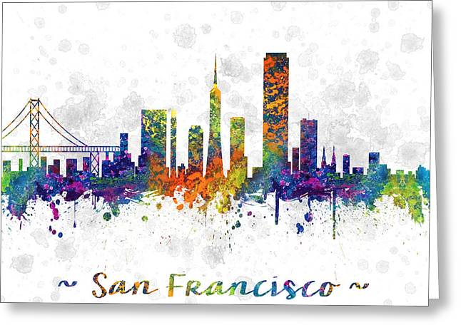 San Francisco Drawings Greeting Cards - San Francisco California  Skyline color 03SQ Greeting Card by Aged Pixel