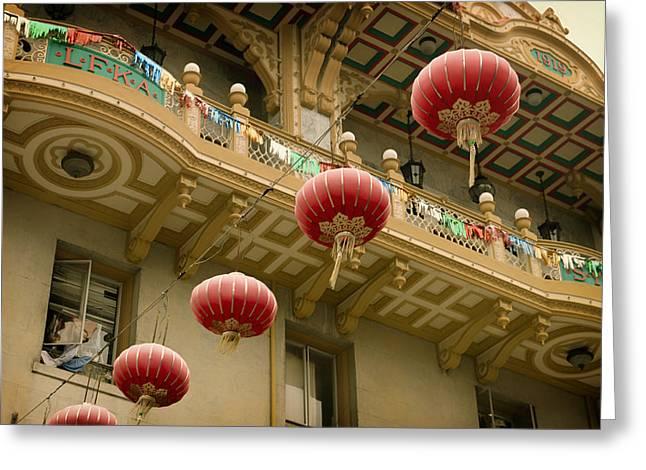 Paper Lantern Greeting Cards - San Francisco Chinatown Lanterns Greeting Card by Mountain Dreams