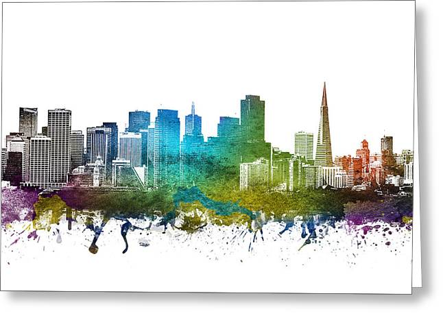 Rainbows Drawings Greeting Cards - San Francisco Cityscape 01 Greeting Card by Aged Pixel