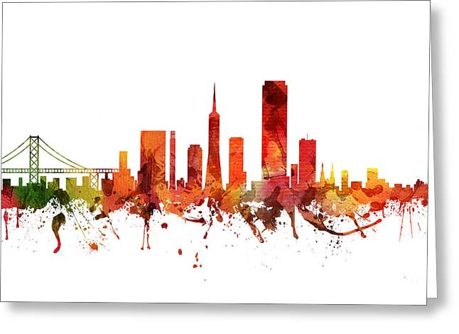San Francisco Drawings Greeting Cards - San Francisco Cityscape 04 Greeting Card by Aged Pixel