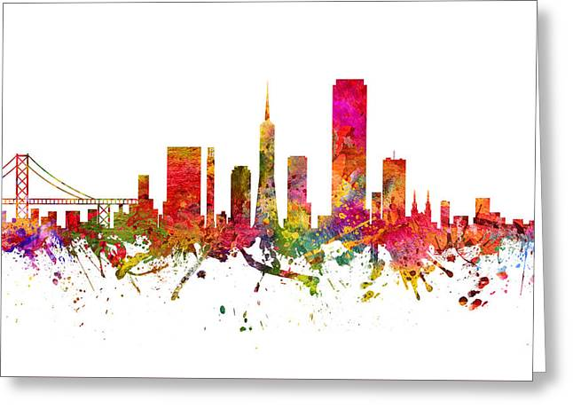 San Francisco Drawings Greeting Cards - San Francisco Cityscape 08 Greeting Card by Aged Pixel