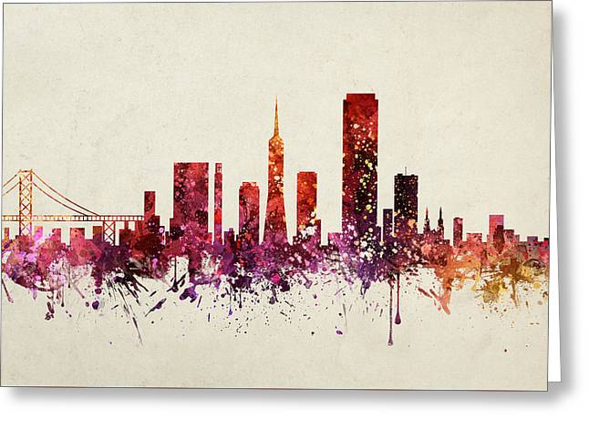 San Francisco Drawings Greeting Cards - San Francisco Cityscape 09 Greeting Card by Aged Pixel