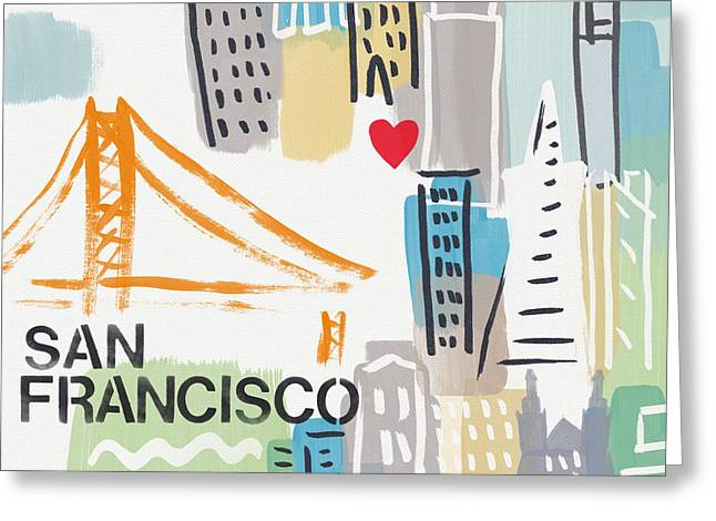 San Francisco Cityscape- Art By Linda Woods Greeting Card by Linda Woods
