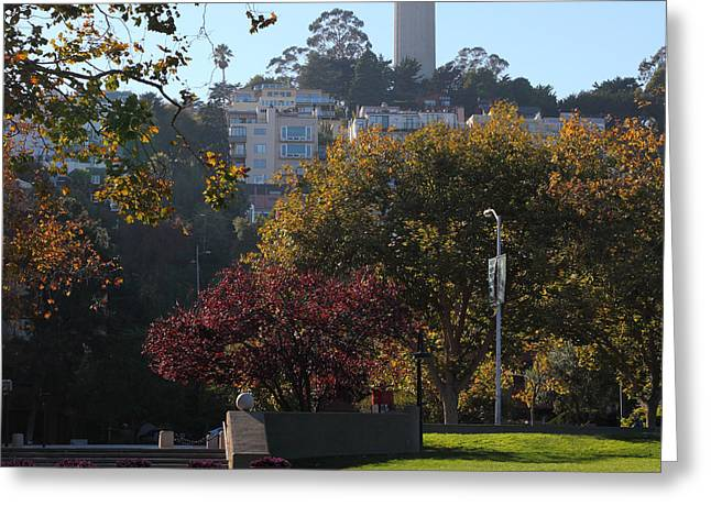 Levis Photographs Greeting Cards - San Francisco Coit Tower At Levis Plaza 5D26217 square Greeting Card by Wingsdomain Art and Photography