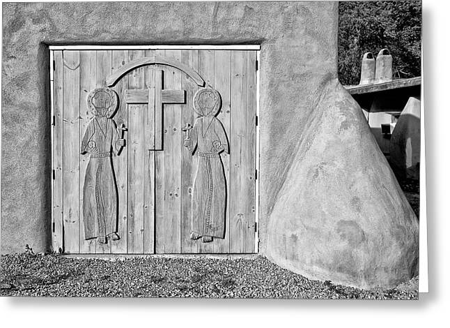 Southwest Church Greeting Cards - San Francisco de Asis Mission Church 3 Greeting Card by Lou  Novick