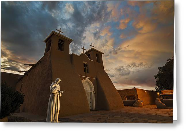 Historic Statue Greeting Cards - San Francisco de Assisi Mission Greeting Card by Jeff Niederstadt
