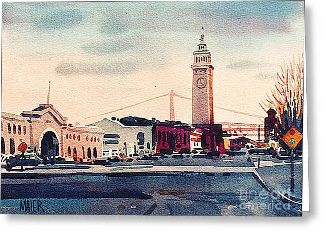 Ferry Building Greeting Cards - San Francisco Ferry Building Greeting Card by Donald Maier