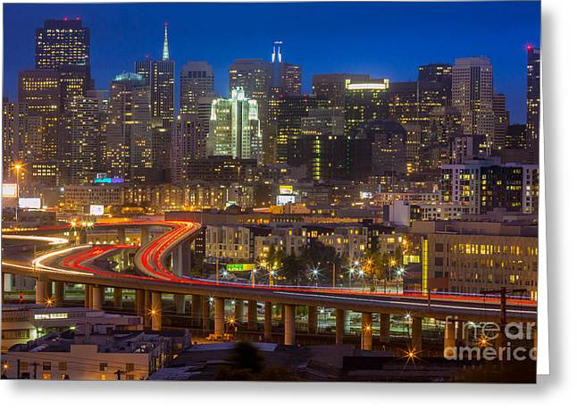 Californian Greeting Cards - San Francisco from Potrero Hill Greeting Card by Inge Johnsson