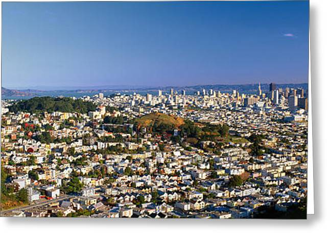 Sprawl Greeting Cards - San Francisco From Twin Peaks Greeting Card by Panoramic Images