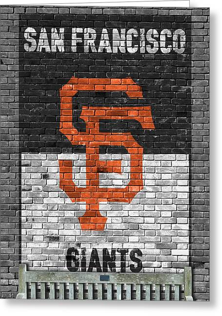 San Francisco Giants Brick Wall Greeting Card by Joe Hamilton