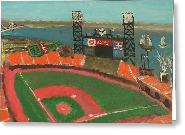 Recently Sold -  - Bay Bridge Greeting Cards - San Francisco Giants Stadium Greeting Card by Kyle McGuigan