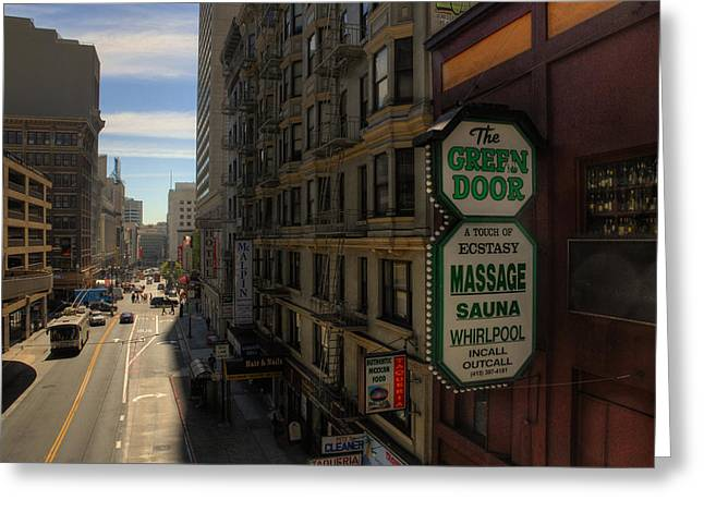 Shady Street Greeting Cards - San Francisco Green Door Greeting Card by Rich Beer