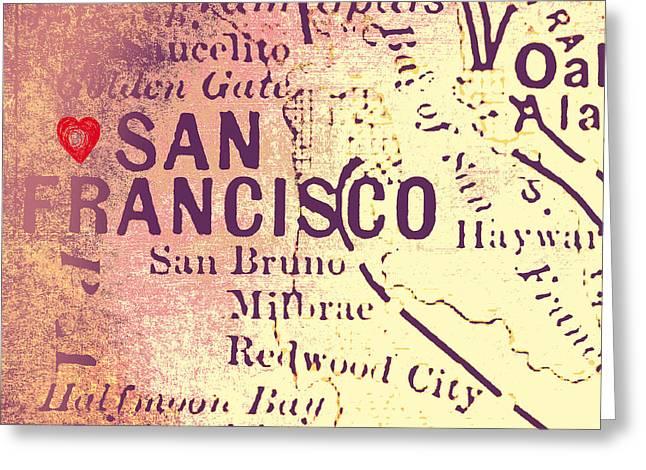 San Francisco Heart Map V4 Greeting Card by Brandi Fitzgerald