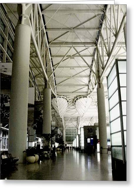Recently Sold -  - People Pyrography Greeting Cards - San Francisco International Airport Greeting Card by Fareeha Khawaja