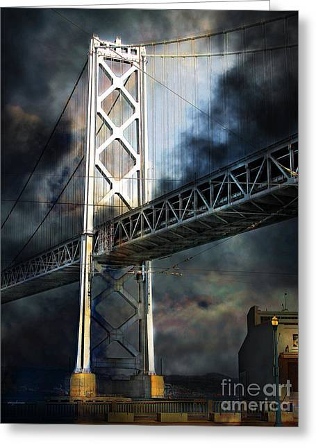 San Francisco Nights At The Bay Bridge 7d7748 Vertical Greeting Card by Wingsdomain Art and Photography