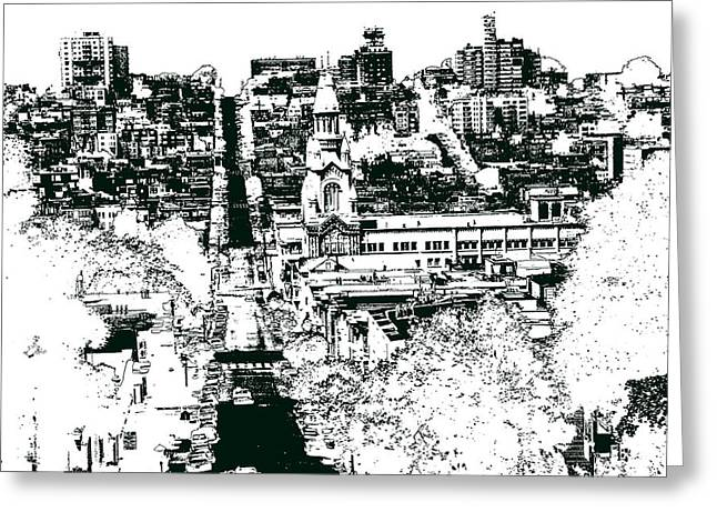 Residential Drawings Greeting Cards - San Francisco North Beach - Ink Drawing Greeting Card by Peter Fine Art Gallery  - Paintings Photos Digital Art