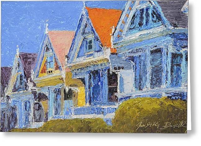 Victorian Greeting Cards - San Francisco Painted Ladies Greeting Card by Judith Barath