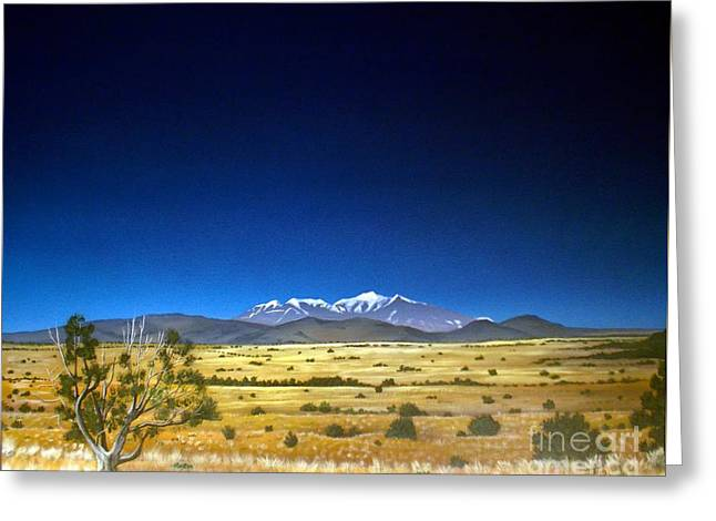 Pinion Paintings Greeting Cards - San Francisco Peaks Greeting Card by Jerry Bokowski
