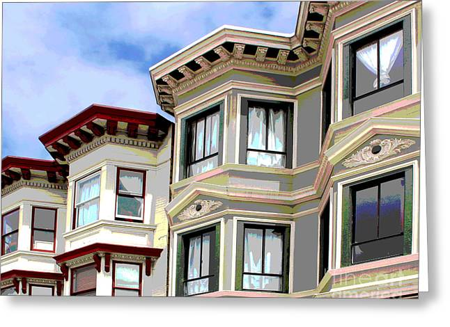 Victorian Greeting Cards - San Francisco Posterized Greeting Card by Cheryl Del Toro