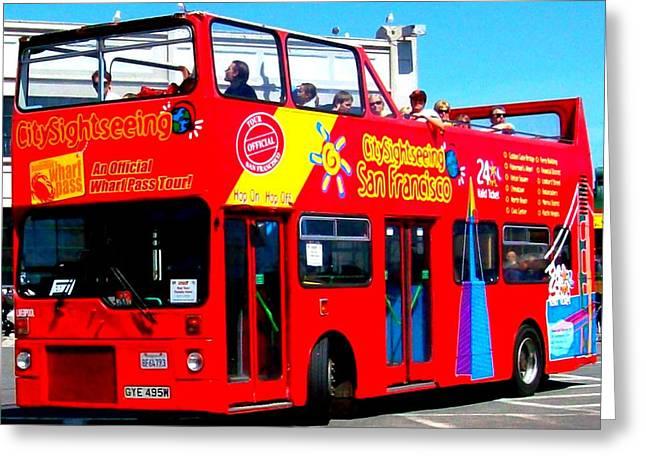 Tour Bus San Francisco Greeting Cards - San Francisco Red Tour Bus Greeting Card by Cj Carroll