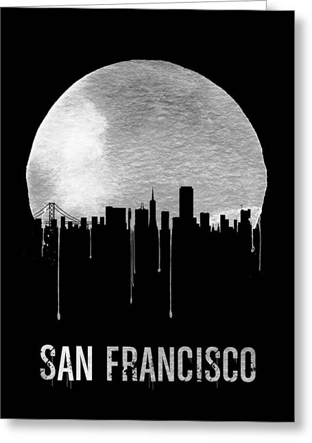 San Francisco Skyline Black Greeting Card by Naxart Studio