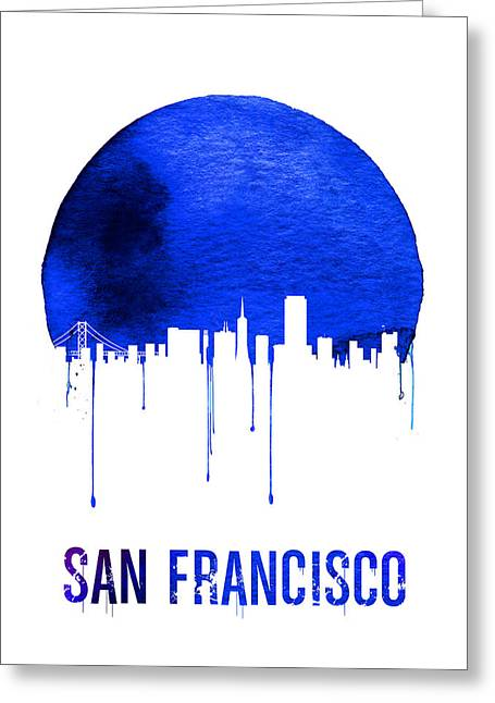 San Francisco Skyline Blue Greeting Card by Naxart Studio