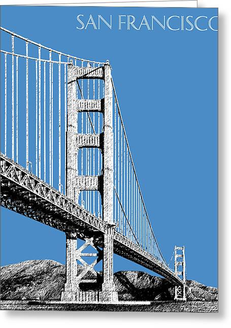 San Francisco Skyline Golden Gate Bridge 2 - Slate Blue Greeting Card by DB Artist