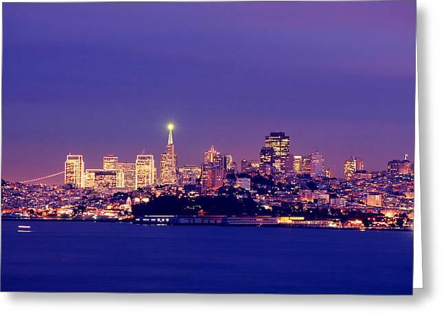 San Francisco Pyrography Greeting Cards - San Francisco Skyline Greeting Card by Kevin Ho