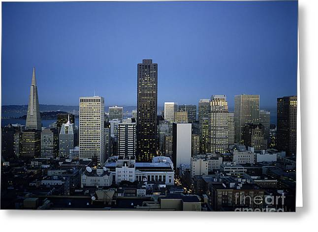 Howell Greeting Cards - San Francisco Skyline Greeting Card by Michael Howell - Printscapes