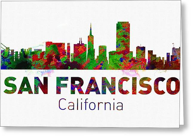 Seattle Skyline Greeting Cards Greeting Cards - San Francisco Skyline - Usa City Greeting Card by Michael Vicin