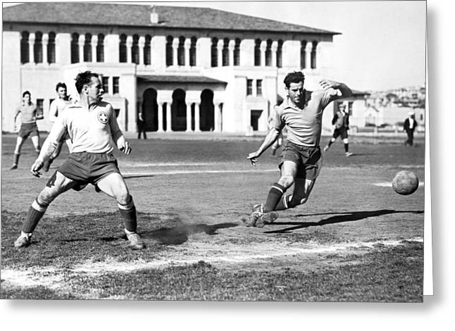 San Francisco Soccer Match Greeting Card by Underwood Archives
