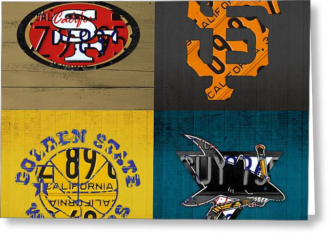 San Francisco Sports Fan Recycled Vintage California License Plate Art 49ers Giants Warriors Sharks Greeting Card by Design Turnpike