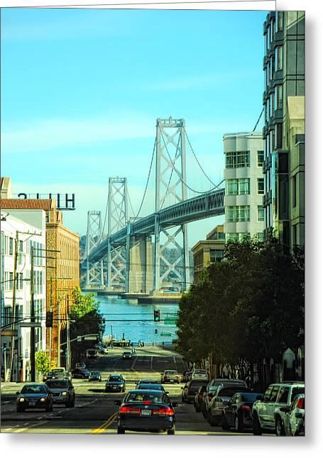 Bay Bridge Greeting Cards - San Francisco Street Greeting Card by Donna Blackhall