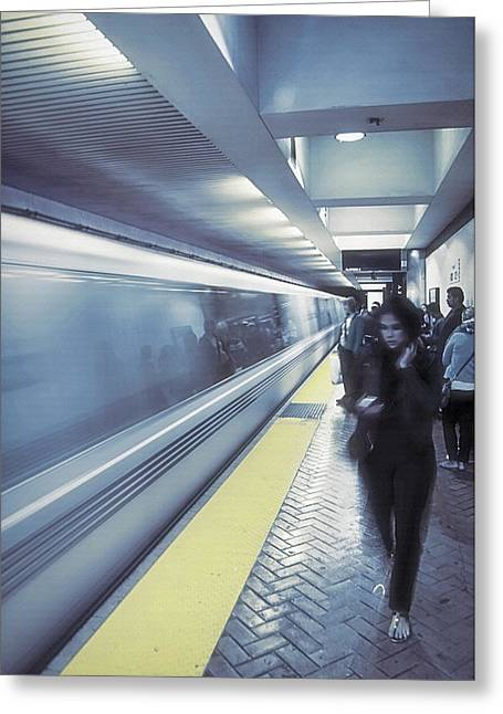 Downtown San Francisco Mixed Media Greeting Cards - San Francisco Subway  2 - Blue Dream Greeting Card by Steve Ohlsen