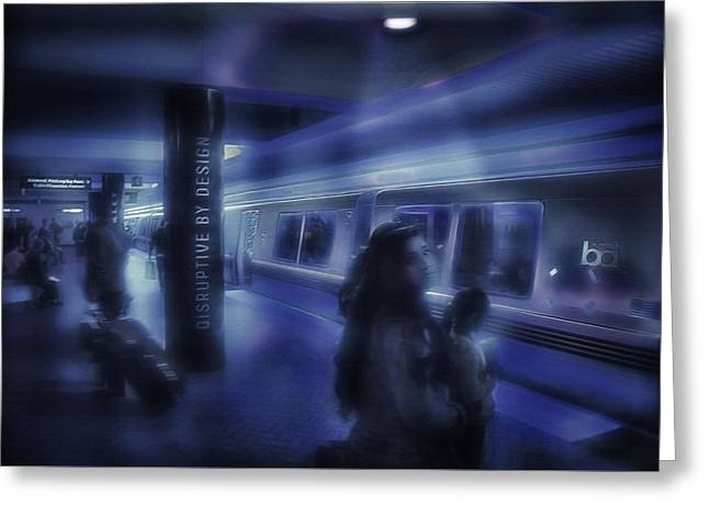 Downtown San Francisco Mixed Media Greeting Cards - San Francisco Subway 5 - Blue Dream Greeting Card by Steve Ohlsen
