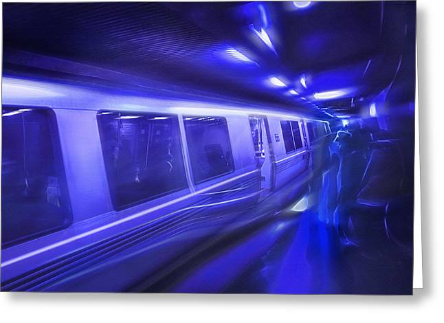 Downtown San Francisco Mixed Media Greeting Cards - San Francisco Subway 6 - Blue Dream Greeting Card by Steve Ohlsen