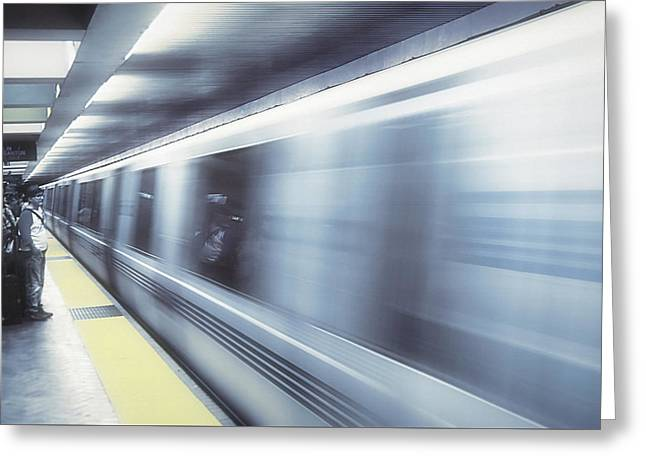 Downtown San Francisco Mixed Media Greeting Cards - San Francisco Subway - Blue Dream Greeting Card by Steve Ohlsen