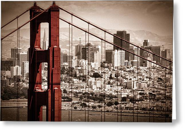 Sepia Greeting Cards - San Francisco through the Bridge Greeting Card by Matt  Trimble