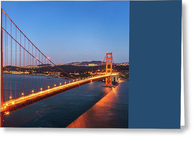 Golden Gate Greeting Cards - San Francisco Through The Golden Gate Bridge at Dusk Greeting Card by James Udall