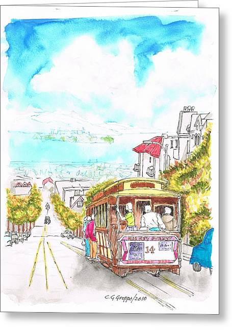 Acuarelas Greeting Cards - San Francisco trolley - California Greeting Card by Carlos G Groppa