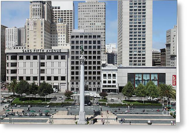 San Francisco Union Square 5d17938 Panoramic Greeting Card by Wingsdomain Art and Photography