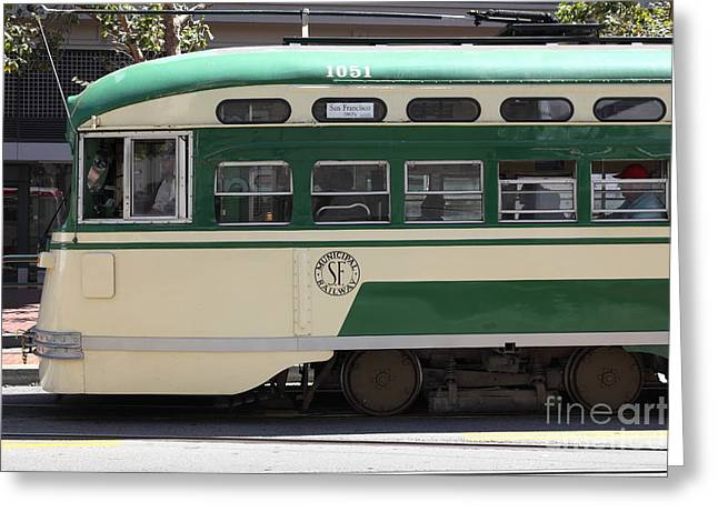 Downtown San Francisco Greeting Cards - San Francisco Vintage Streetcar on Market Street - 5D17973 Greeting Card by Wingsdomain Art and Photography
