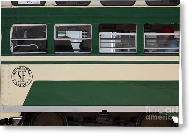 Downtown San Francisco Greeting Cards - San Francisco Vintage Streetcar on Market Street - 5D17974 Greeting Card by Wingsdomain Art and Photography