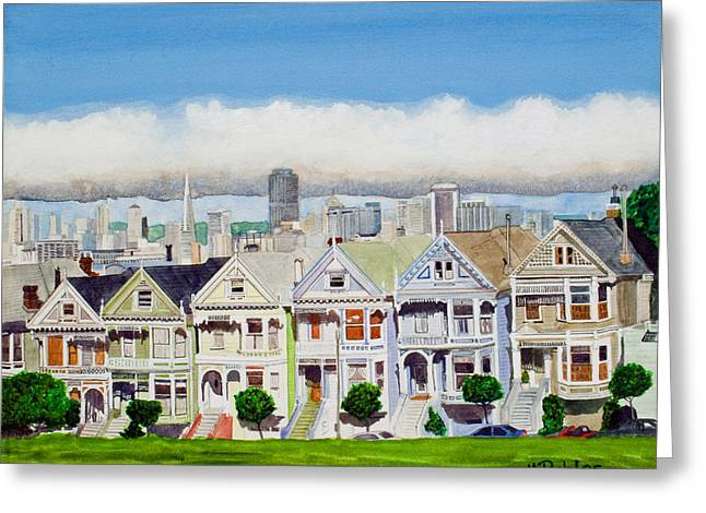 San Francisco Greeting Cards - San Franciscos Painted Ladies Greeting Card by Mike Robles