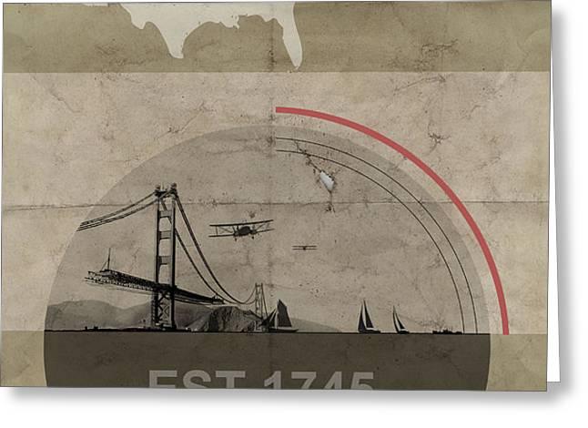 San Fransisco Greeting Card by Naxart Studio