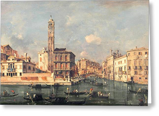Venetian Architecture Greeting Cards - San Geremia and the Entrance to the Canneregio Greeting Card by Francesco Guardi