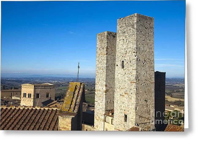 Tuscan Sunset Greeting Cards - San Gimignano Greeting Card by Andre Goncalves