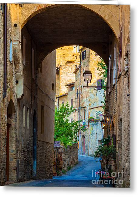 Archway Greeting Cards - San Gimignano Archway Greeting Card by Inge Johnsson