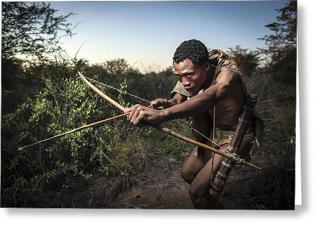 Hunting Photographs Greeting Cards - San Hunting Greeting Card by Ben Mcrae