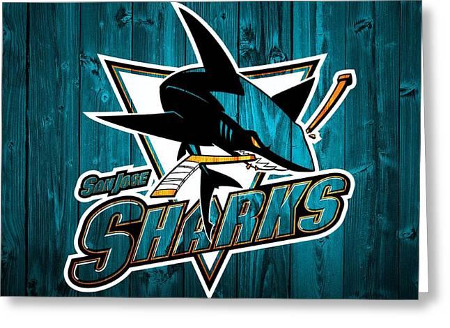 San Jose Sharks Barn Door Greeting Card by Dan Sproul